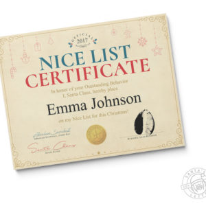 Nice List Certificate 2018 - A Letter from Santa Claus